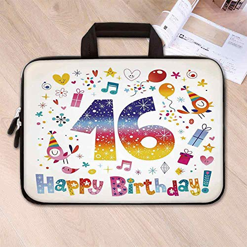 16th Birthday Decorations Custom Neoprene Laptop Bag,Cute Teen Celebration Motif Hearts Balloon Bird Box Stars Design for Men Women Students,15.4''L x 11''W x 0.8''H