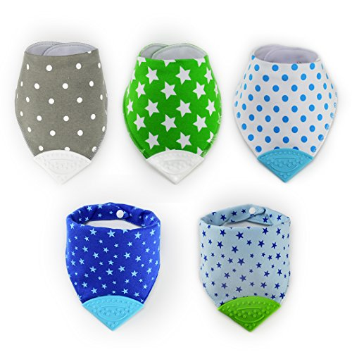 Apanda Baby Bandana Teething Bibs (5-set) with BPA-Free Silicone Teether and Water-Resistant Snap for Boy and Girl by ApandaBaby