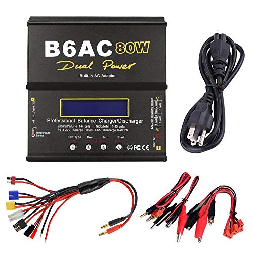 Sky toy ST-B6AC Lipo Battery Charger Balance Charger Discharger 1S-6S Digital Battery Pack Charger with AC Power Supply for NiMH/NiCD/Li-PO/Li-Fe Packs w/ Tamiya/JST/EC3/HiTec/Deans Connectors