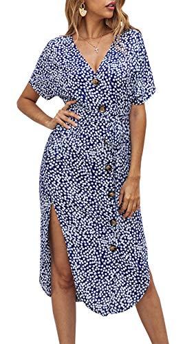 BTFBM Women V Neck Short Sleeve Button Stylish Floral Print Two Side Split Casual Belt Dress with Pockets (Blue, Medium)