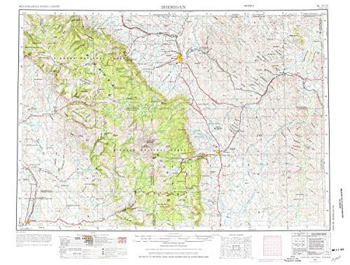 YellowMaps Sheridan WY topo map, 1:250000 Scale, 1 X 2 Degree, Historical, 1955, Updated 1976, 22 x 29.1 in - Tyvek