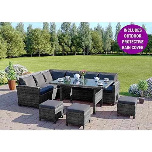 Rattan Corner Sofa Abreo: Grey Rattan Outdoor Furniture: Amazon.co.uk