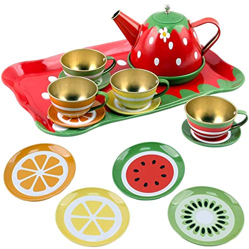 Liberty Imports Kids Fruit Themed Tin Tea Party Toy