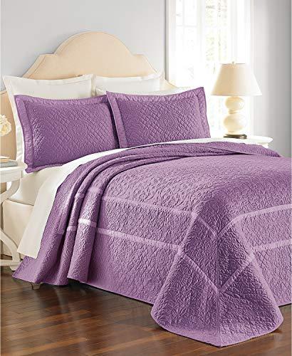 MARTHA STEWART - Flowering Trellis Purple Queen Quilted Bedspread