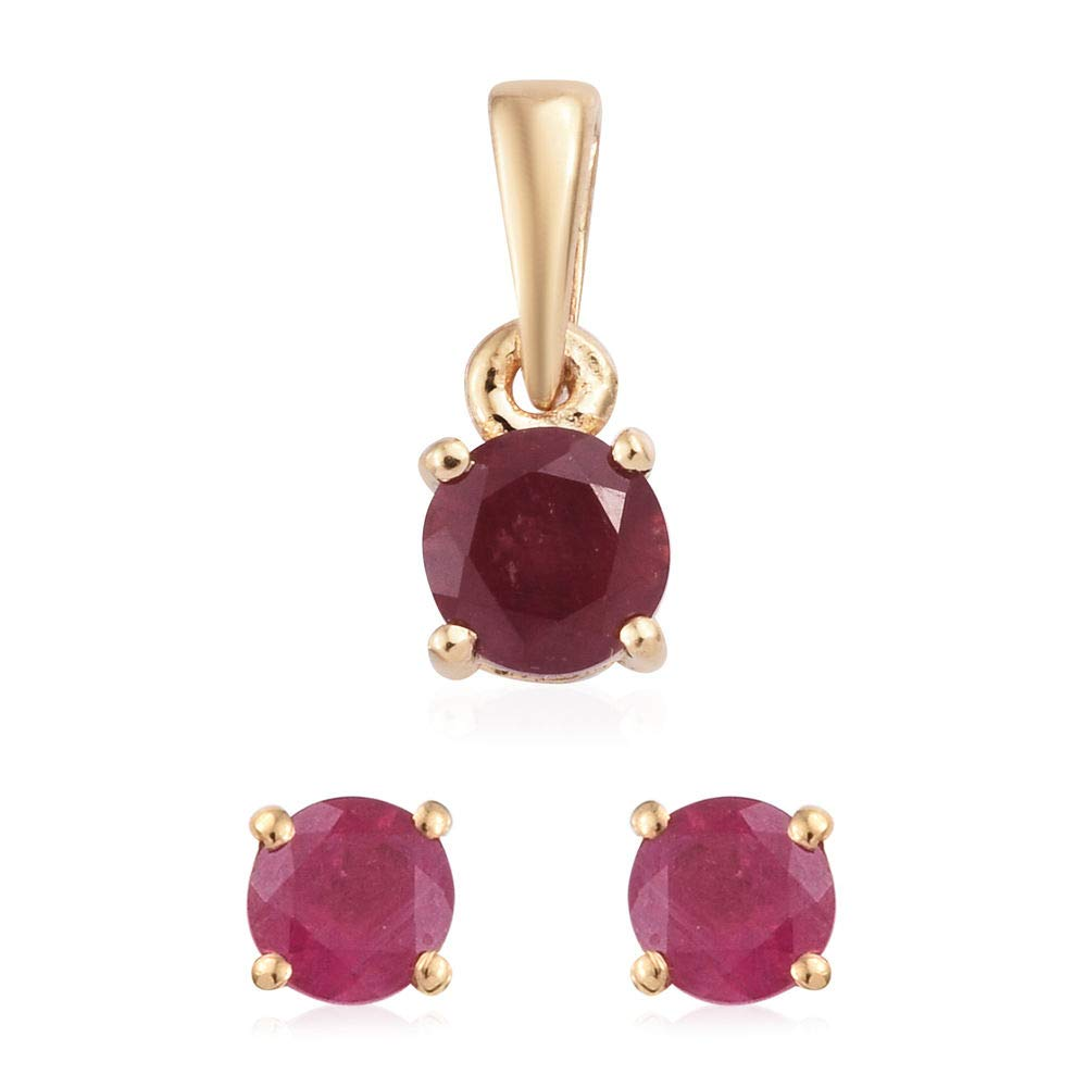 African Ruby Earrings and Pendant for Women In 925 Sterling Silver TJC set of 2
