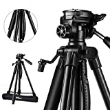 Amzdeal Camera Tripod - Lightweigh 63 Inch Adjustable Aluminum Camera Tripod Campatible Nikon, Canon, Sony, Samsung, Olympus, Panasonic & Pentax + Camera Stand Ideal for Travel and Work