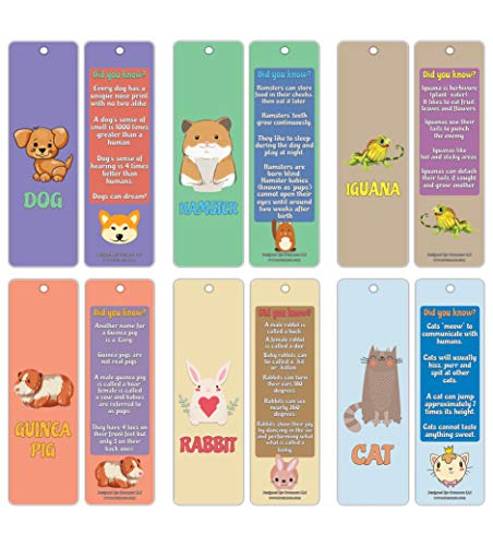 (Creanoso Pet Fun Facts Learning Bookmark Cards (12-Pack) – Premium Quality Set – Dog, Hamster, Iguana, Guinea Pig, Rabbit, Cat Facts for Kids – Teacher Rewards and Classroom Incentives)