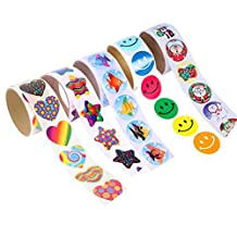 NUOLUX 5 Pack Colorful Fun Stickers Roll for Kids Great Christmas Party Favors Creative Reward Gift