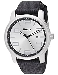 Roots Men's 'Core' Quartz Stainless Steel and Canvas Casual Watch, Color:Black (Model: 1R-LF420SI6B)
