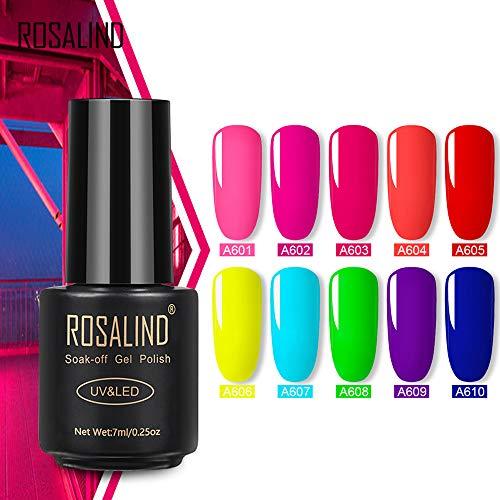 ROSALIND Gel Nail Polish Neon Color Set, 10 Colors Soak Off UV LED Gel Nail Kit, Need Base Top Coat, Summer Color, 7ml Each ()