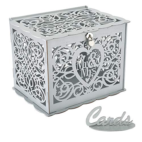 Wedding Card Box, Money Box With Lock Slot,  DIY Wooden Money Box, Used for Wedding Reception, Anniversary, Baby Shower, Birthday Party, Graduation Party Decoration (Silver)