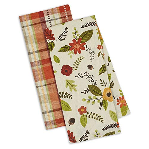 (Design Imports DII Set 2 Fall in Love Kitchen Dish Towels - Autumn Leaves Print - Fall Garden Plaid)