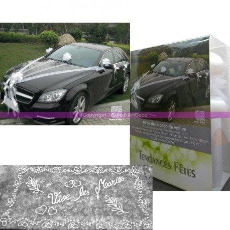 Conjunto de decoración para boda, 9 piezas, para coche de novios, tul, lazos, cinta, y bandeja decorada: Amazon.es: Hogar