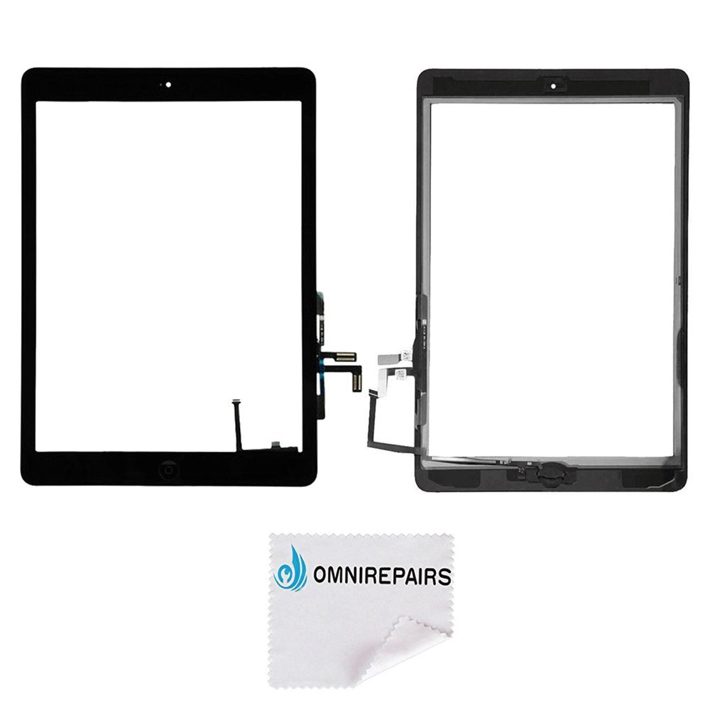 Omnirepairs-For Black iPad Air (iPad 5) 1st Generation Glass Touch Screen Digitizer Assembly Replacement with Home Button Flex, Rubber Gasket, Camera Bracket and Pre-installed Adhesive Tape