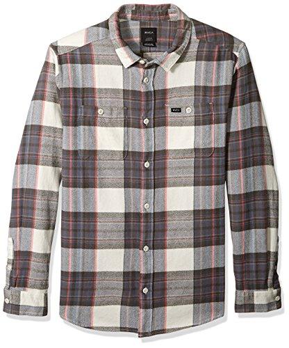 (RVCA Men's Ludlow Flannel Long Sleeve Woven Button UP Shirt, Silver Bleach, XL)