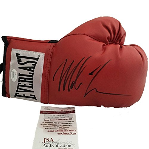 Autographed/Signed Mike Tyson Red Everlast Boxing Glove JSA COA