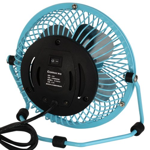 Comix Mini Personal Desktop Fan, 4'', Metal Design, Quiet Operation, Air Radiator for Laptop,USB Cable Powered, Blue (L602) by Comix (Image #2)