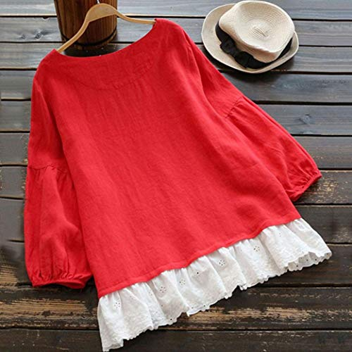 Shirt Casual Patchwork T Blouse Manches Chic Dentelle Dames Shirt Rouge Long Tops Femme Bringbring T Longues 5w4qx5S