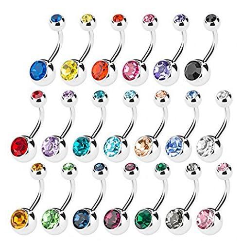 Piercing Nombril Ventre piercings de nombril Piercing Nombril Boucles d'oreilles, dikete® Lot de 20Piercing Banane Bijou de Corps Corps avec cristaux en 10couleurs