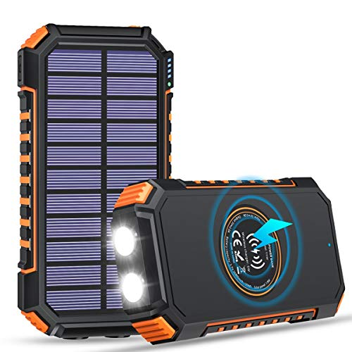 Solar Charger 26800mAh ADDTOP 3A Fast Charging Power Bank with Orange