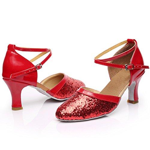Tacón Zapatos Para Baile Mujer Vashcamer Rojo De xFqfw1H
