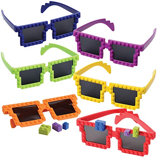 Building Blocks Glasses (Pack Of 6) Cute Looking Brick Glasses, 5 5/8 Inch, With Extra Block Pieces, In Neon Colors, For Kids, Boys And Girls, Birthday Party Favor, Decoration Supplies. -