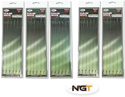 18 X Hair Rigs Barbless Size 6 8 10 Carp fishing Rigs NGT Tackle 12lb Braid new