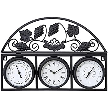 deco 79 metal outdoor clock thermometer 21 by 14inch
