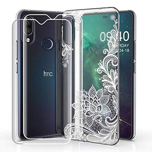 Compatible for HTC Desire 19 Plus (2019) Case with 2 Pack Glass Screen Protector Phone Case for Men Women Girls Clear Soft TPU with Protective Bumper Cover Case for HTC Desire 19 Plus (2019) -Flower