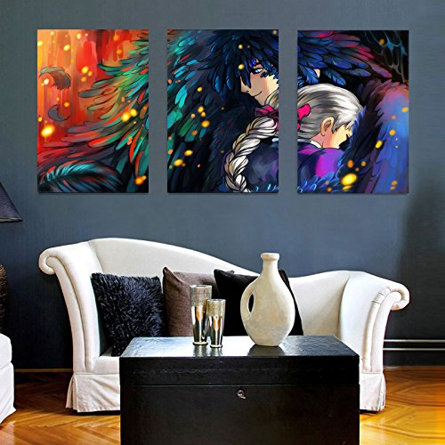 3Pcs/set 16x24inch Vintage Howl's Moving Castle View Modern Creative Decoration Posters Paintings Canvas Wall Art Picture Home Decor Living Room Canvas Print Painting DIY Murals (Castle Canvas Mural)