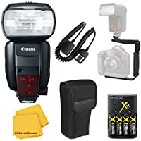 Canon 600EX-RT Speedlite Flash Accessory Bundle Kit + Flash Bracket + AA Battery Charger + TTL Cord + Flash Diffuser + Microfiber Cleaning Cloth for Canon EOS Rebel T4i, T5, T5i