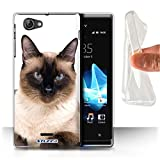 STUFF4 Gel TPU Phone Case / Cover for Sony Xperia J (ST26i) / Siamese Design / Cat Breeds Collection
