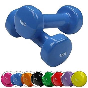 BB Sport 2 x pesas de vinilo 0,5-5 kg mancuernas set en colores diferentes: Amazon.es: Deportes y aire libre
