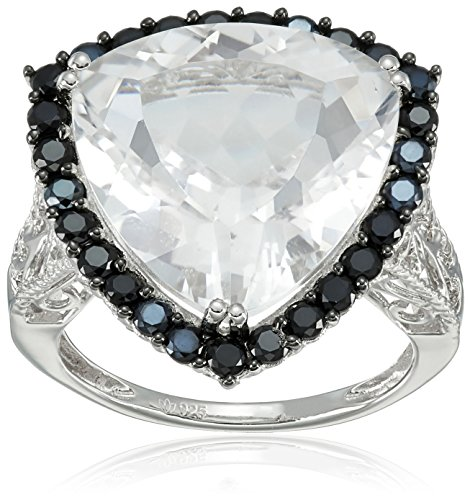 Sterling Silver White Quartz Trillion and Black Spinel Ring, Size 7