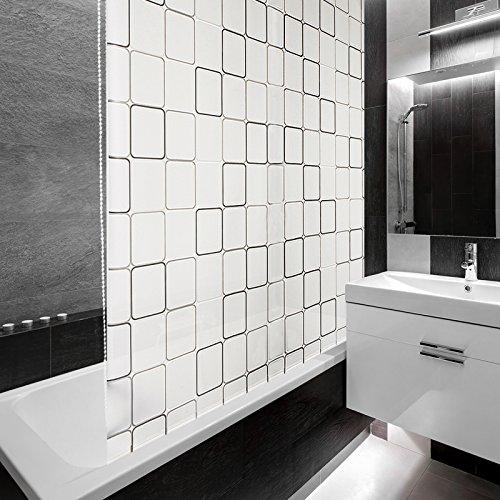 Design Duschrollo SQUARE | viele Größen | schnelltrocknend | Deckenbefestigung mit Halbkassette | halbtransparent, Retro Muster | 80x240cm (BxL)