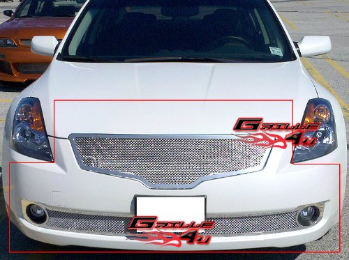 (Fits 07-09 Nissan Altima Sedan Stainless Mesh Grille Combo #N77765T)