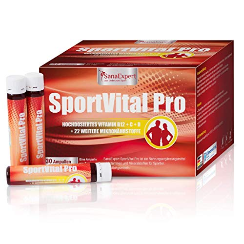 SanaExpert SportVital Pro, Multivitamin-Komplex zur Stärkung des Immunsystems, nicht nur für Sportler, L-Carnitin, 30 Ampullen à 25 ml, hochdosiert, Orange