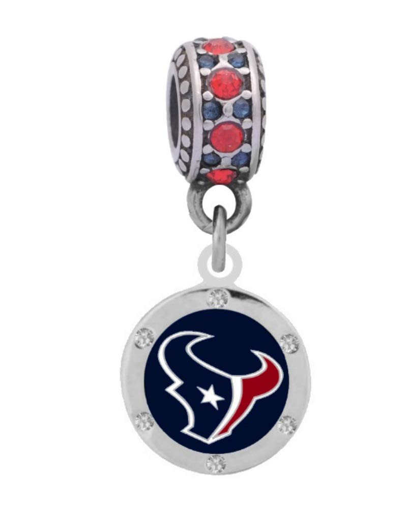 Final Touch Gifts Houston Texans Charm with Crystals Fits European Style Large Hole Bead Bracelets