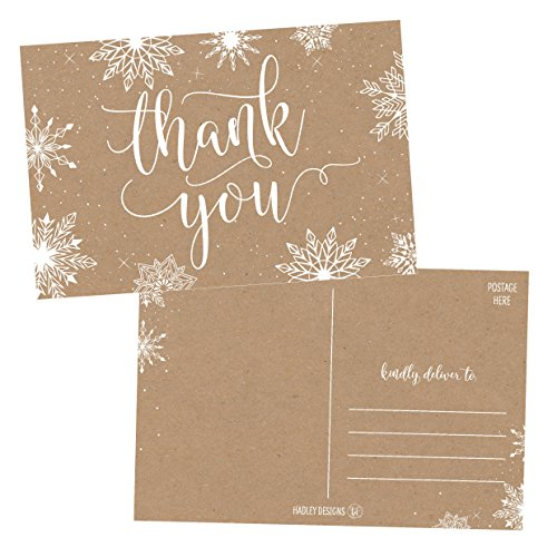 25 4x6 Blank Christmas Holiday Thank You Postcards Bulk, Cute Kraft Winter Snowflake Note Card Stationery For Wedding, Bridesmaids, Bridal or Baby Shower, Teachers, Religious, Business Cards (Thank You Card Snowflake)