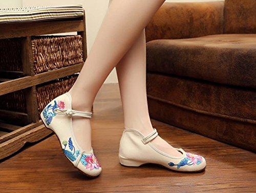 Chnuo Zapatos bordados lenguado del tendón estilo étnico zapatos de tela femenina moda cómodo casual dentro del aumento meters white