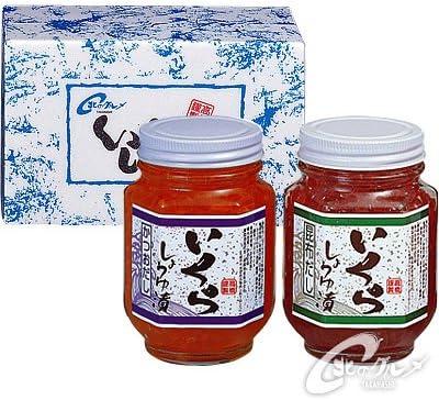 【海鮮市場 北のグルメ】いくら 醤油漬け 2本セット ( かつおだし ・ 昆布だし) 各165g 瓶・発泡 ケース入 北海道産 送 料 込
