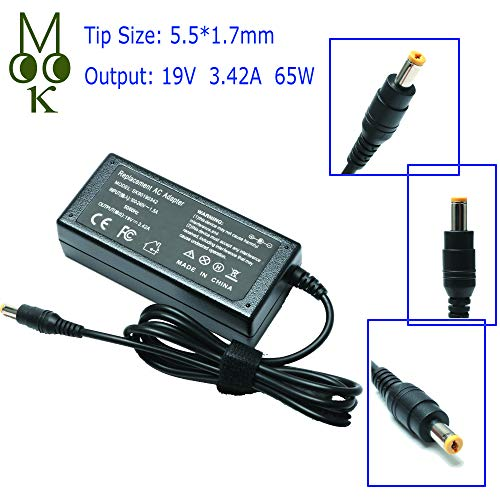 19V 3.42A 65W Laptop Adapter Charger for Acer Aspire 5253 7560 5750 5733 5517 5532 5742 5349 5534 4830t 5733z 5750z E15 E5-575 V5-571 ES1-531 ES1-531 V7 V3 R3 R7 S3 E1 M5 Series Power Supply Cord (Acer Aspire 1410 Charger)