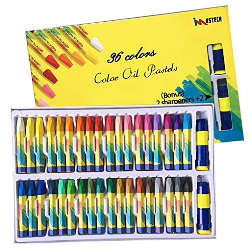 (36 Colors Art Oil Pastels Set with Pastel Holders and Sharpeners for All Artistic Level by iMustech)