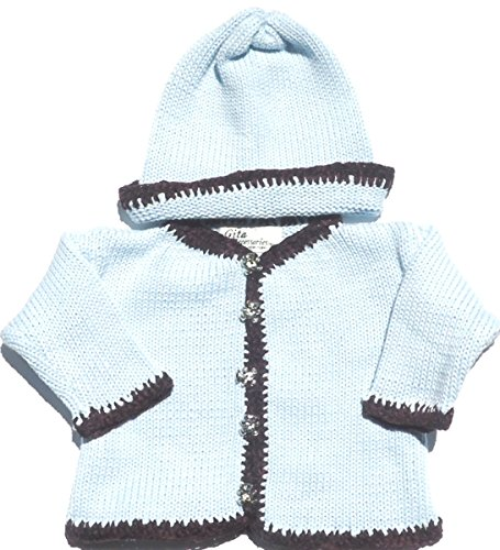 Knitted & Crochet Finished Blue Cotton Navy Chenille Trim Sweater Hat Set (12-18 mo)