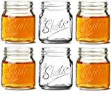 Circleware 42784 Mini Mason Jar Heavy Base Shot Glasses, Set of 6, Fun Party Home Entertainment Dining Beverage Drinking Glassware Tumbler Whiskey Coffee Espresso Liquor Bar Jello Cups, Script, 4.9 oz