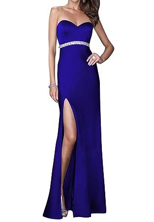 Mujer Elegante Largo Sin Mangas Vestidos De Coctel Noche Fiesta Largos Azul S
