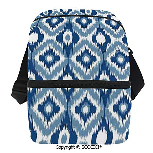 SCOCICI Collapsible Cooler Bag Ethnic Ikat Design with Regular Multi Shaft Loom Uneven Twill Trend Motif Decorative Insulated Soft Lunch Leakproof Cooler Bag for Camping,Picnic,BBQ