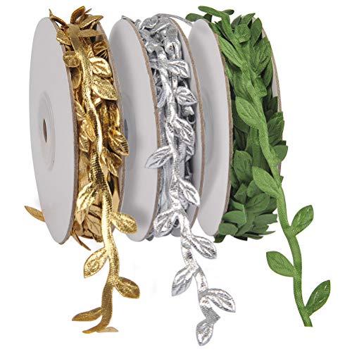 Silver Leaf Trim - ATPWONZ 3 Rolls Olive Leaf Ribbons Trim Spool Gold Silver Green Lace Ribbons Wreath Making Gift Wrapping Wedding Decoration (10Yd/roll, 30Yd)