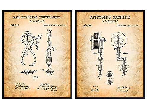 Tattoo Machine, Piercing Gun Patent Art Prints - Vintage Wall Art Poster Set - Chic Rustic Home Decor for Man Cave, Den, Living Room Bar - Gift for Men, Tattoo Artists - 8x10 Photos - Unframed