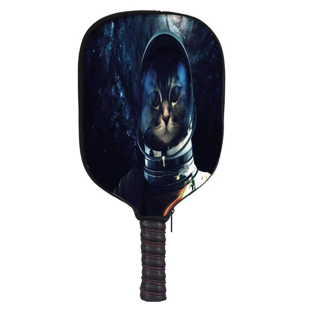 MOOCOM Space Cat Fashion Racket Cover,Astronaut Kitty Extragalactic Mission in Orbit Terestial Image for Playground,8.3'' W x 11.6'' H